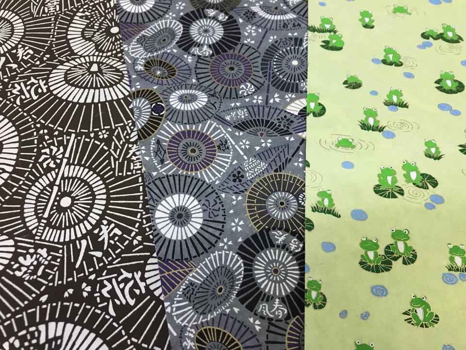 梅雨 千代紙 和傘柄 かえる柄